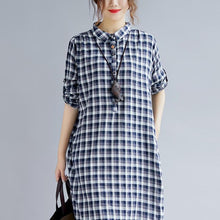 Load image into Gallery viewer, stylish blue Plaid cotton dresses plus size clothing Turn-down Collar traveling dress top quality long sleeve side open maxi dresses