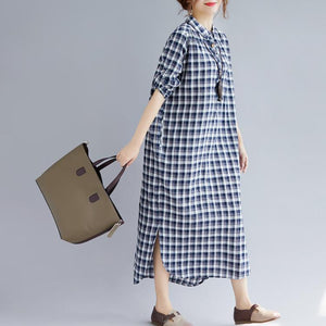 stylish blue Plaid cotton dresses plus size clothing Turn-down Collar traveling dress top quality long sleeve side open maxi dresses