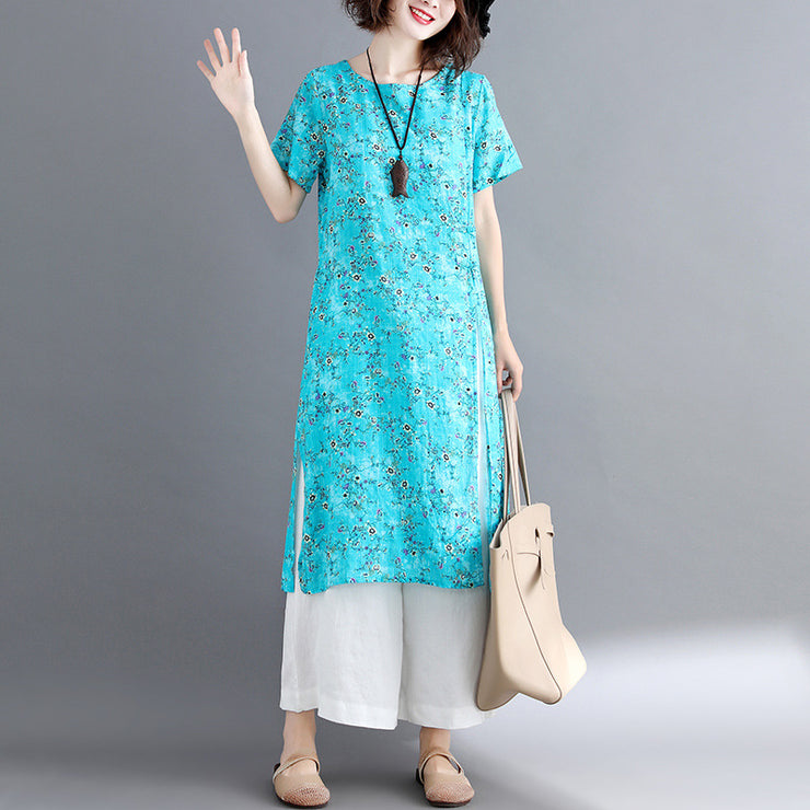 stylish blue cotton linen dresses Loose fitting short sleeve long cotton dresses vintage o neck traveling dress