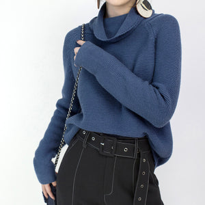 stylish blue cozy sweater Loose fitting high neck knit sweat tops vintage blouse