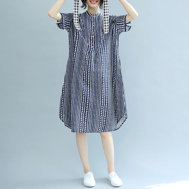 stylish blue floral Midi-length cotton dress plus size clothing cotton maxi dress Fine short sleeve pockets Stand baggy dresses