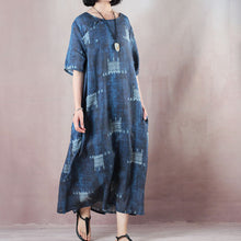 Load image into Gallery viewer, stylish blue linen dresses trendy plus size o neck exra large hem caftans 2018 short sleeve baggy dresses caftans
