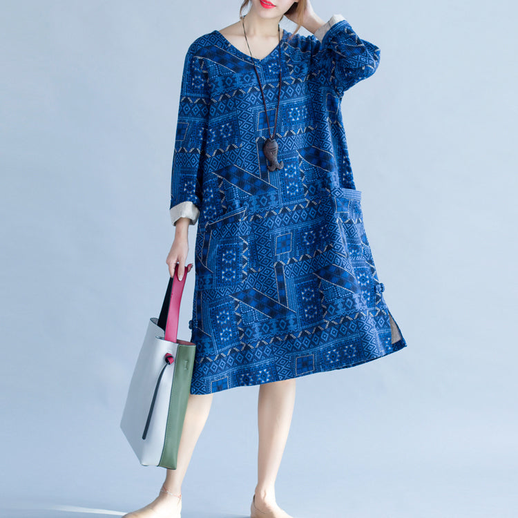 stylish blue print cotton dress trendy plus size holiday dresses New long sleeve baggy V neck side open cotton dress