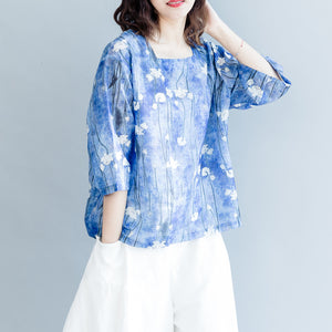 stylish blue print cotton linen waistcoat Loose fitting casual women Half sleeve Square Collar cotton linen tops