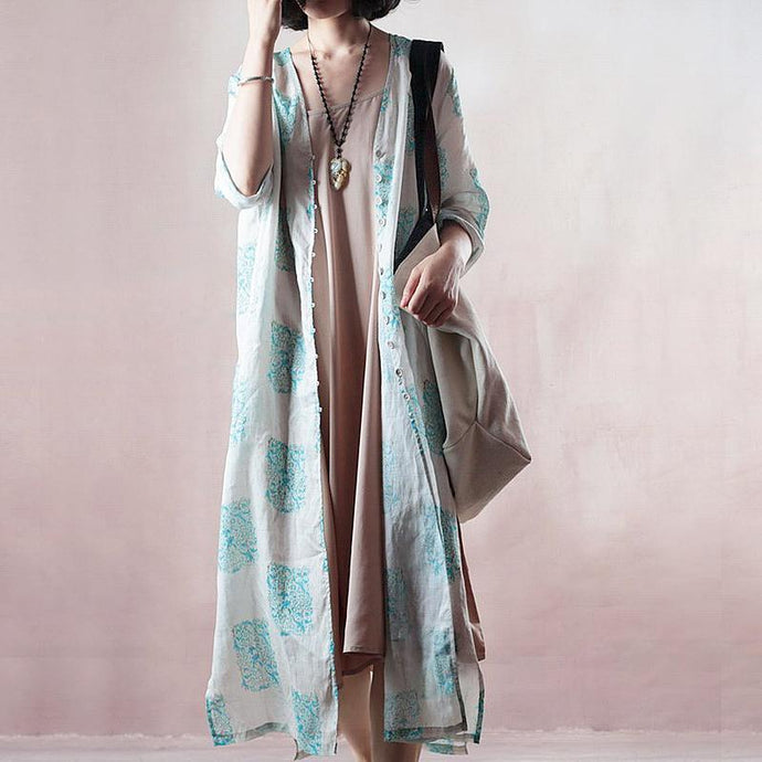 stylish blue print long linen dresses plus size clothing v neck side open traveling dress Fine half sleeve gown