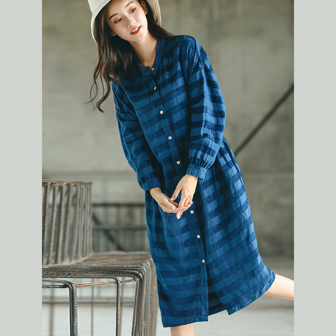 stylish blue striped oversized casual dress pockets Fine stand collar natural linen dress