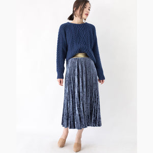 stylish blue winter sweater plus size clothing O neck side open sweaters Fine cable knit winter tops