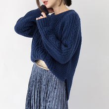 Load image into Gallery viewer, stylish blue winter sweater plus size clothing O neck side open sweaters Fine cable knit winter tops