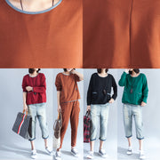 stylish brown cotton pullover oversize patchwork t shirt