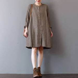 stylish chocolate linen shirt dress plus size traveling clothing long sleeve casual o neck dresses