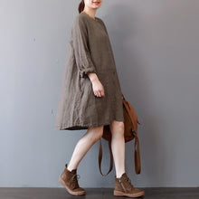 Load image into Gallery viewer, stylish chocolate linen shirt dress plus size traveling clothing long sleeve casual o neck dresses