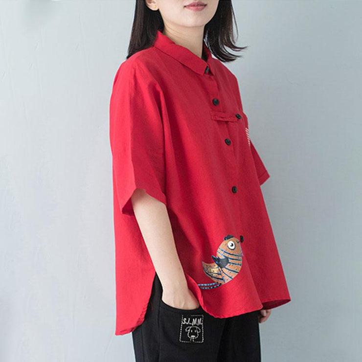stylish cotton blouse plus size polo Collar Single Breasted 12 Sleeve Red Blouse