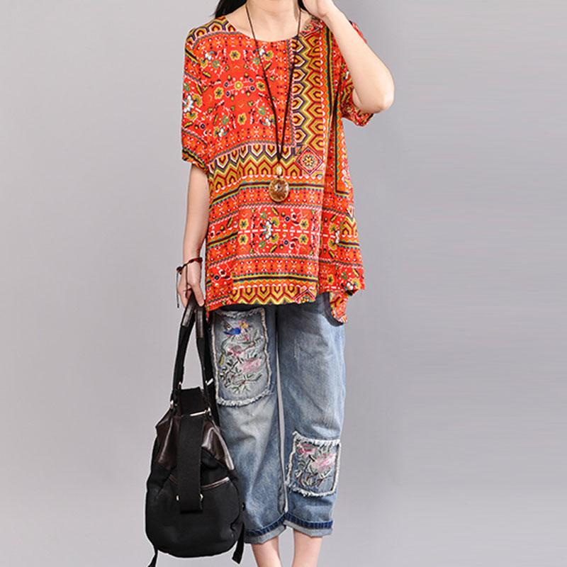 stylish cotton blouses Loose fitting Printed Women Summer Pullover Loose Cotton Tops