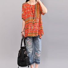 Load image into Gallery viewer, stylish cotton blouses Loose fitting Printed Women Summer Pullover Loose Cotton Tops