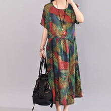 Load image into Gallery viewer, stylish cotton caftans oversize Short Sleeve Printed Summer Round Neck Cotton Dress