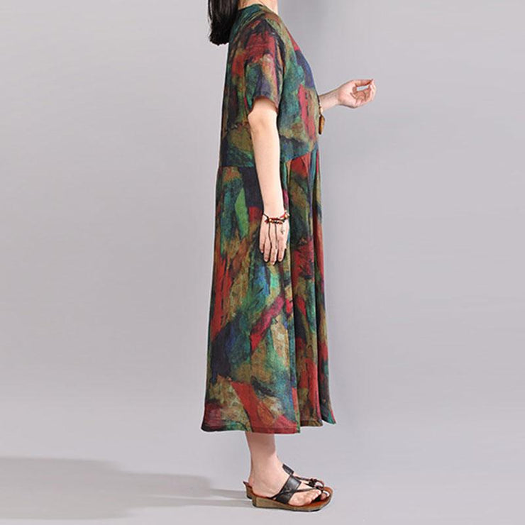 stylish cotton caftans oversize Short Sleeve Printed Summer Round Neck Cotton Dress