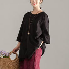 Load image into Gallery viewer, stylish cotton summer topLoose fitting Casual Short Sleeve Black Pocket Long Tops