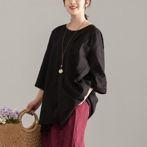 stylish cotton summer topLoose fitting Casual Short Sleeve Black Pocket Long Tops