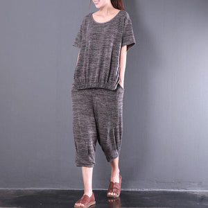 stylish cotton tops plus size Women Short Sleeve Casual Knitting Two Pieces Set