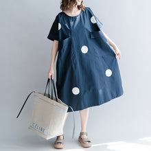 Load image into Gallery viewer, stylish dark blue dotted natural cotton dress casual holiday dresses vintage short sleeve O neck baggy dresses