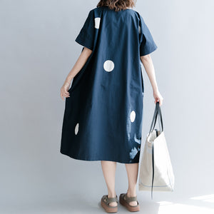 stylish dark blue dotted natural cotton dress casual holiday dresses vintage short sleeve O neck baggy dresses