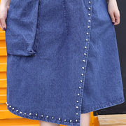 stylish denim blue Midi-length cotton dress Loose fitting cotton maxi dress Fine rivet decorated sleeveless knee dresses