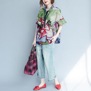 stylish floral Midi linen pullovercasual linen clothing tops2018 shirt collar short sleeve clothing