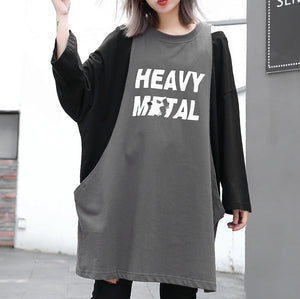 stylish gray cotton blended blouse oversized O neck holiday tops top quality patchwork Fake two pieces cotton blended blouses