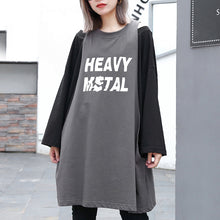 Load image into Gallery viewer, stylish gray cotton blended blouse oversized O neck holiday tops top quality patchwork Fake two pieces cotton blended blouses