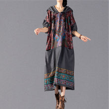 Load image into Gallery viewer, stylish gray print 2018 oversize Hooded baggy maxi dress Fine patchwork cotton dresses