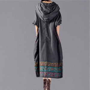 stylish gray print 2018 oversize Hooded baggy maxi dress Fine patchwork cotton dresses
