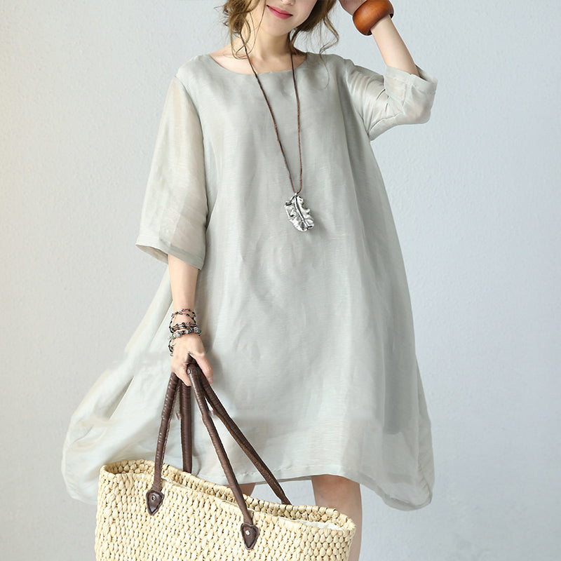 stylish gray pure silk dresses plus silk clothing dresses women o neck half sleeve midi dress