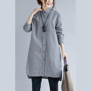 stylish gray striped cotton linen shirt dress trendy plus size shirt dress boutique long sleeve pockets Turn-down Collar patchwork natural cotton linen shirt dress