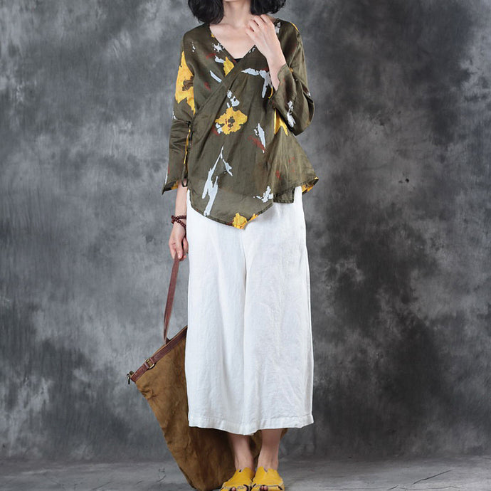 stylish green print linen tops oversize traveling blouse top quality half sleeve v neck tie waist linen blouses