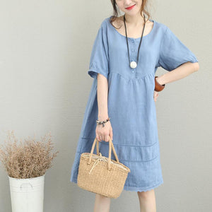 stylish light blue linen shift dress oversize shirt dress women patchwork lace hollow out linen cotton dress