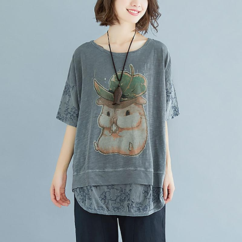 stylish linen cotton tops plus size clothing Summer Embroidery Short Sleeve Slit Blouse