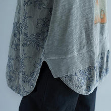 Load image into Gallery viewer, stylish linen cotton tops plus size clothing Summer Embroidery Short Sleeve Slit Blouse