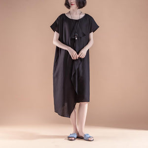 stylish linen summer dress casual Short Sleeve High-low Hem Summer Casual Black Dress