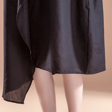 Load image into Gallery viewer, stylish linen summer dress casual Short Sleeve High-low Hem Summer Casual Black Dress