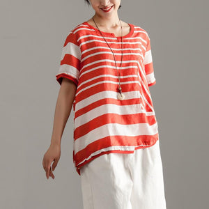 stylish linen tops over sized Red Stripe Short Sleeve Summer Casual Tops
