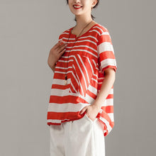 Load image into Gallery viewer, stylish linen tops over sized Red Stripe Short Sleeve Summer Casual Tops
