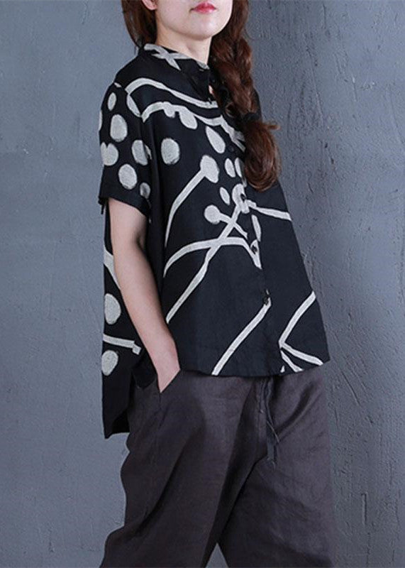 stylish linen tops oversize Stand Collar Printed Single Breasted Black Blouse