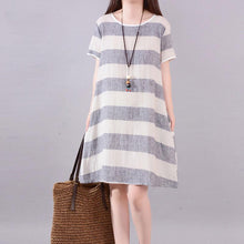 Load image into Gallery viewer, stylish long linen dresses plus size clothing Gray Stripe Short Sleeve Casual Cotton Flax Dress