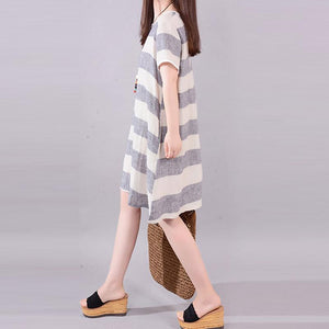 stylish long linen dresses plus size clothing Gray Stripe Short Sleeve Casual Cotton Flax Dress