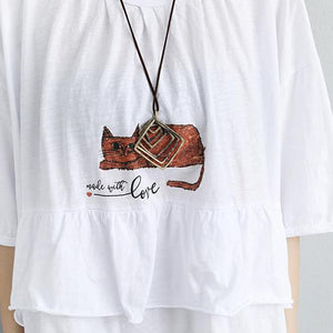 stylish natural cotton t shirt Loose fitting Loose Women Cotton Round Neck Printed White Tops