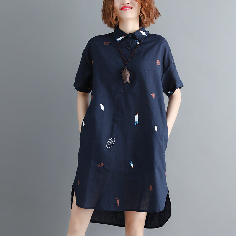 stylish navy pure linen dress trendy plus size linen maxi dress vintage short sleeve Turn-down natural linen dress
