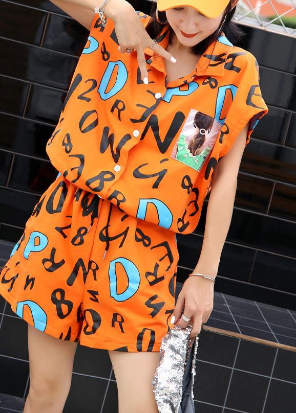 stylish orange prints cotton blended short sleeve jumpsuit hot pants