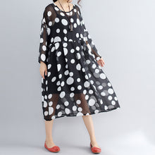 Load image into Gallery viewer, stylish photo color prints pure chiffon dress plus size boutique two pieces long sleeve clothing dress