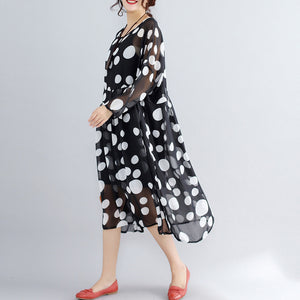 stylish photo color prints pure chiffon dress plus size boutique two pieces long sleeve clothing dress