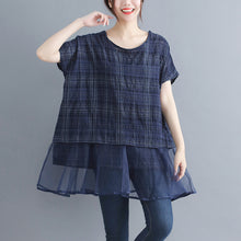 Load image into Gallery viewer, stylish plaid grid cotton linen tops trendy plus size holiday tops elegant o neck Batwing Sleeve patchwork midi tops